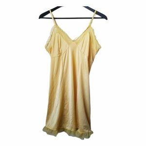 La Vie En Rose women's yellow ruffle slip dress